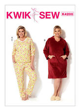 Kwik Sew 4200 Paper Sewing Pattern Women's 1X-4X Bust 45 to 57 Hooded Jammies