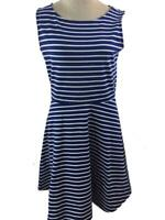 Talbots dress size PM petite medium blue white stripe sleeveless stretch knit