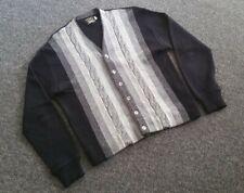 Mens 50s 60s Vtg Original Campus Cardigan Sweater Black Gray Stripes XL