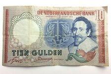 1953 Netherlands Tien Ten 10 Gulden Nederlandsche Bank Bill Note Banknote B110