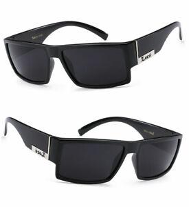 Locs Mens Cholo Biker UV400 Sunglasses - Shiny Black Frame Black Lens LC78