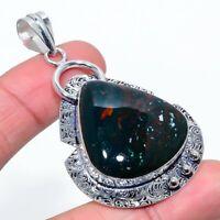 "Bloodstone Gemstone Handmade Ethnic 925 Silver Jewelry Pendant 2.52"" AL-10983"