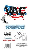 9 Cloth Vacuum America Clean FJM Bags, for Miele Vacuums + 2 Filters