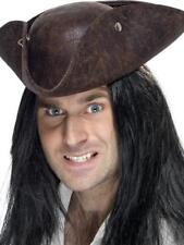 Brown Tricon Pirate Hat Mens Ladies Fancy Dress Adults Captain Hook Costume Hat