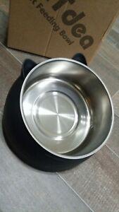 Cat Dog Food Water Tilted Bowl 15 Degree Tilt Stainless Steel ~ Brand New In Box