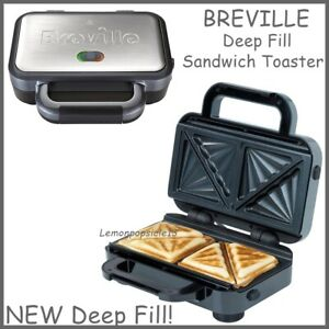 Breville Deep Fill Sandwich Toaster Removable Easy Clean Plates VST041 Silver