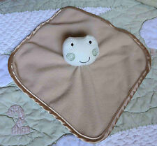 Just Born Tan Brown Fleece & Satin Edge Green Frog Baby Security Blanket Euc