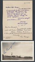 KLM Airlines DC-4 Photo and Letter signed by Captain Ron George 1946 dated