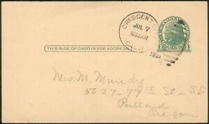 USA orig. Postcard 1Cent green Crescent City 7 Juli 1931 to Portland/England