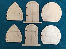 Laser Cut Wooden Fairy Elf Hobbit Doors 6 Kinds - Assorted Pack of 12 Doors