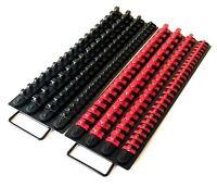 "160pc BLACK / RED CLIPS 17-1/2""L SOCKET TRAY HOLDER ORGANIZER 1/4 3/8 1/2 RAIL"