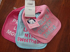 Gerber 3 Pk. Terry Cloth Os2 Girls Bibs With Cute Different Verse On Each