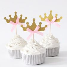 10 x Gold Princess Crown With Pink Ribbon Cupcake Toppers Birthday Cute