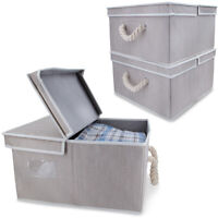 3pk Collapsible Stackable Fabric Storage Organizer Bins With Lids & Rope Handles
