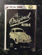 VW BEETLE Metal POSTCARD Vintage Retro Tin Signs THE ORIGINAL RIDE