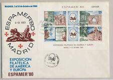 España bloque 21 sólo etiquetas carta/FDC, espamer 1980 (29673)