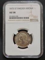 Sweden - 1 Krona 1875 - NGC AU58