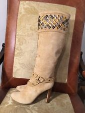 Roberto Cavalli suede leather stud  Knee High Boots, Size 39