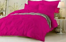 AU Puckered Ruffle Pintuck Pinch Duvet Cover & Pillowcase Bedding Set Hot Pink