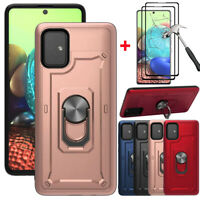 For Samsung Galaxy A71 5G A51 Case Shockproof Stand Cover + Full Tempered Glass