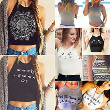 Women's Crop Sleeveless Summer Casual Tank Tops Tee Vest Blouse Pullover T Shirt