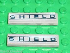 2 x LEGO  Marvel Super Heroes MdStone Tile ref 2431 + stickers SHIELD / Set 6867