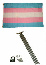 3x5 Gay Pride Trans Transgender Rainbow Flag w 6' Ft Aluminum Flagpole Kit