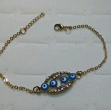 Good Luck Nazar Designer Bracelet 7.5 in 14k Gold Plated Best Hamsa Evil Eye