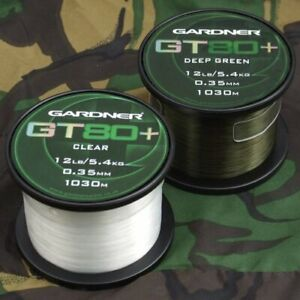 Gardner Tackle GT80+ Plus Mainline *Green or Clear* NEW Carp Fishing Line