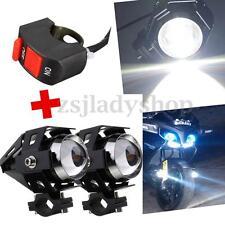 2x U5 125W 3000LM Motorcycle LED Headlight Driving Fog Spot Light Lamp + Switch
