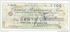 RSI assegni a tasso fisso cassa di risparmio di pisa 100 lire 1944 gav1200 n°979