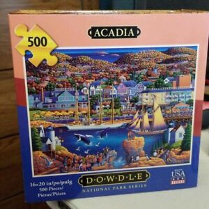 Acadia National Park Series Jigsaw Puzzle Dowdle 500 Pieces Map Box Maine Ships