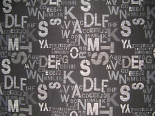 Letters Upholstery/Drapery Jacquard Fabric Script Black By The Yard