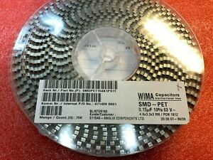 750pcs x WIMA SMD-PET Capacitor 0.15uF 63V 10% 1812 SMDTC03150KA00K 4.8x3.3x3mm