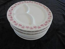Set of 6 Buffalo China 3 Divided  Dinner Plates 9 1/2  Red Leaf M6-7