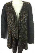 BKE Boutique multi-color studded open front acrylic wool cardigan sweater M