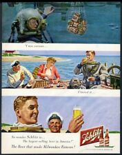 1950 deep sea diving diver art Schlitz Beer vintage print ad