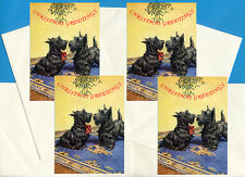 SCOTTISH TERRIER SCOTTIE UNDER MISTLETOE 4 DOG PRINT GREETING CHRISTMAAS CARDS