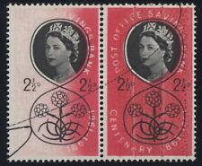 GB ERROR 1961 POSB 2 1/2d PAIR...PART MISSING RED