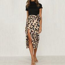 UK Size 8-16 Ladies Leopard Print High Waist Slim Hip Wrap Mini Skirt Slit Skirt