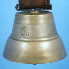 """9.5""""dia Antique Swiss Bronze COW BELL Leather Belt Iron Buckle Flowers Relief"""