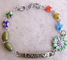 NEW OOAK Rhinestone Enamel Flower LOVE Millefiore Bead Charm Bracelet
