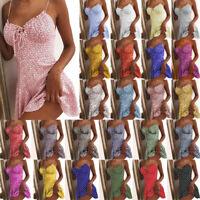 Womens Floral Printed Sleeveless Mini Dress Ladies Summer Boho Beach Sundress AU