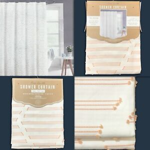 New FREE EARTH Cotton Shower Curtain White w/ Pink Understated Thread Texture