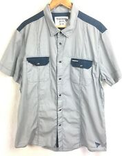 GUESS Short Sleeve Button Front Striped Blue Cotton Pockets Collar Shirt XXL