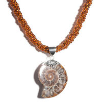 Bali Legacy Collection Ammonite Pendant with Twisted Bead Necklace (20 in) in St