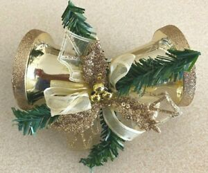 Lot of 11 Golden Glitter Bells Clip-On Christmas Ornaments Holly Leaves Pine