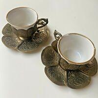 Vintage Turkish Coffee Set - Metal & Porcelain Espresso Cups Saucers Arabic