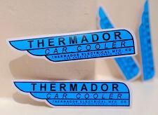 "#3446 SET of 2 Thermador Car Cooler Vintage Garage Parts Logo 1x4"" Decal Sticker"