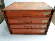 New Listingvintage Four 4 Sliding Drawer Metal Parts Cabinet 128 Compartments